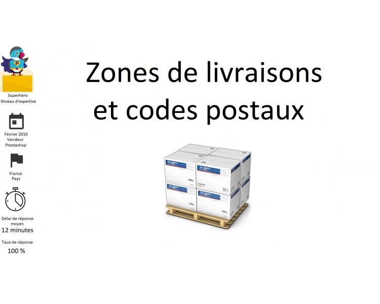 Zones de livraisons et codes postaux