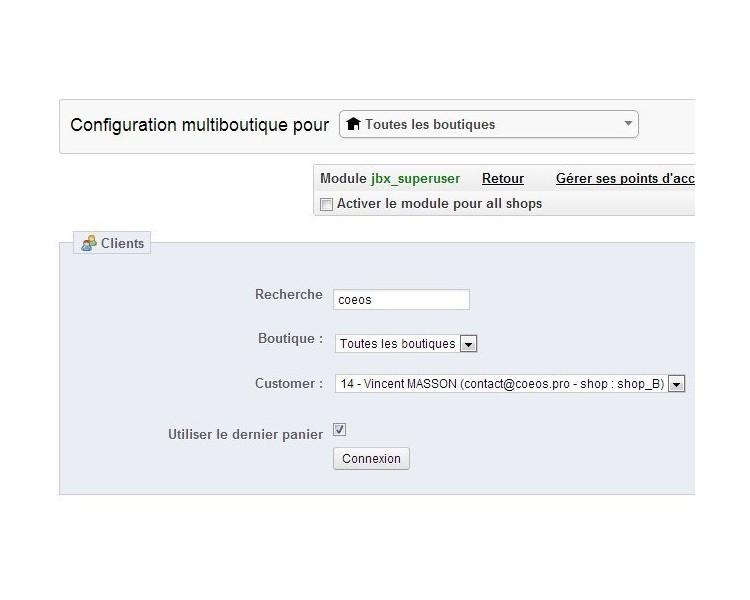 Super utilisateur - module prestashop gratuit