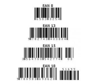 code à barres EAN 8, 13, 15, 18