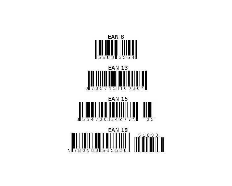 EAN barra de código de 8, 13, 15, 18